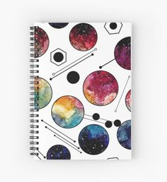 Watercolor Colorful Galaxy in Circles Spiral Notebook