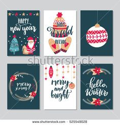 Vector set of hand drawn Christmas greeting cards. Great print for invitations, posters, tags. Merry Xmas. Happy New Year. Festive banners in flat cartoon style, vintage colors
