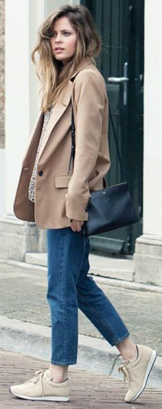 Christine R. + stylish and alternative + cropped mom jeans + beige sneakers + matching androgynous style blazer + attractive and simple + easily achieved + spring look  Blazer: Zara, Top: Ganni, Jeans: COS, Bag: Celine, Sneakers: Meyba.