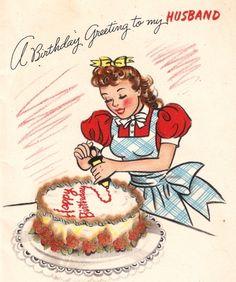 Vintage 1940s Housewife Birthday Card