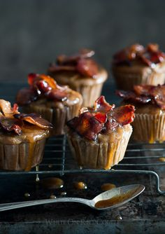 This is a killer apple muffin recipe loaded with dripping maple bacon. One bite of these apple muffins and loaded with sweet maple bacon will hook you! Muffin Recipes, Brunch Recipes, Sweet Recipes, Breakfast Recipes, Dessert Recipes, Just Desserts, Delicious Desserts, Yummy Food, Bacon Muffins