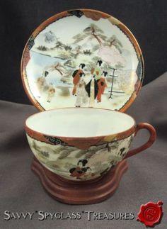 Antique Japanese Kutani Geisha Eggshell Porcelain Cup & Saucer #1