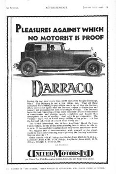 Darracq Motor Car Autocar Advert 1930