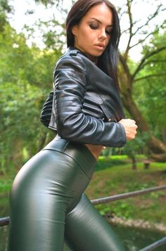 Leather Leggings, Leather Jacket, Leather And Lace, Black Leather, Sexy Women, Women Wear, Disco Pants, Green Leggings, Tight Dresses