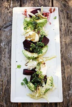 beet & avocado salad with fresh mozzarella & fennel