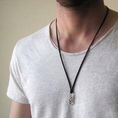91665676aaca Infinito collar de plata para hombre collar de cuero de Mens Collar Infinito
