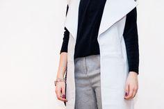 Blue velvet, grey wool & white leather