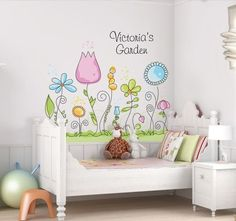 Childrens Wall Decal - Flower Garden with Name Personalization - Large Vinyl Art Sticker - For Nursery or Kids Girls Room. Childrens Wall Decals, Garden Wall Art, Wall Decor, Room Decor, Kids Room Design, Little Girl Rooms, Kid Spaces, Girls Bedroom, Bedroom Wall