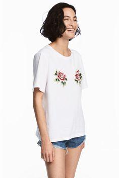 T-shirt met borduursel - Wit - DAMES | H&M BE