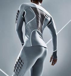Condom material becomes sportswear for Pauline van Dongen's long-jump suit.