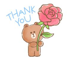 BROWN&FRIENDS warm and sweet watercolor | Line Sticker Thank You Gifs, Thank You Images, Wall Stickers Dance, Cute Stickers, Thanks Gif, Bear Gif, Cute Couple Cartoon, Family Painting, Cute Love Memes