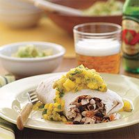 Grilled Chicken Burritos with Mango Salsa - Rachael Ray I use the chicken from this in other recipes.