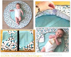 Travel Change & Play Mat: Big enough for baby to move around without rolling off during a diaper change. Storage all along the edges for extra diapers, a package of wipes and a change of clothes. It folds up nicely to fit into a diaper bag!