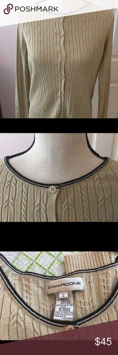 Evan Picone cardigan Camel color with black trim around the neck. Cabled, very soft and comfortable. Evan Picone Sweaters Cardigans