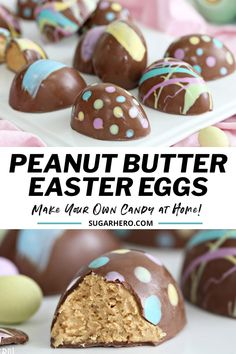 This homemade Peanut Butter Easter Eggs recipe has it all--a sweet, salty, slightly crumbly peanut butter filling, a coating of creamy chocolate on the outside, and sweet pastel decorations for that perfect Easter candy touch. Once you try these Peanut Butter Eggs, you'll never buy store-bought again! #sugarhero #eastercandy #peanutbutter #peanutbuttereggs Easter Egg Moulds, Easter Egg Candy, Easter Snacks, Easter Recipes, Easter Food, Easter Peanut Butter Eggs, Easter Ideas, Easter Dinner, Egg Recipes