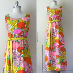 70s Maxi Dress Bright Floral Long Dress by ultravioletvintage