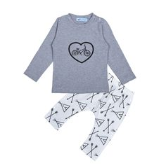 Bobo Choses boy clothing set Bicycle Heart Pattern Tops + pants Arrow baby girl clothes bike children clothing set ropa infantil