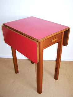 Vintage Formica Kitchen Table Drop Leaf Compact Size Seats 2 RED Dining Retro