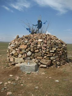A Mongol altar to Tengri the sky god of the Mongols and many other steppe and siberian peoples.