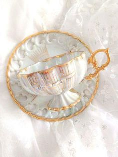 Antique Royal Sealy Inspired China Footed Teacup and Saucer White and Gold Lusterware Japan Iridescent Wedding Gift Inspiration China Tea Cups, Teapots And Cups, My Cup Of Tea, Antique China, Tea Cup Saucer, Drinking Tea, Tea Time, Tea Party, Gold