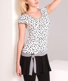 White & Black Polka Dot Drop-Waist Tunic by Dolcezza