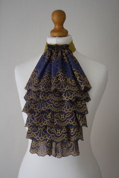 Dark lavender with gold color lace jabot FREE UK SHIPPING by gunalosane on Etsy https://www.etsy.com/listing/200210760/dark-lavender-with-gold-color-lace-jabot