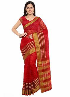 8307e196a Red with Golden Border Poly Silk Saree