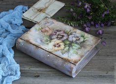 """Купить """"Летняя акварель"""" деревянная шкатулка из ольхи (не фанера) - бледно-сиреневый, нежно-голубой"""