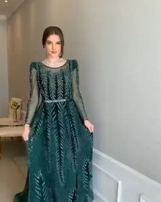 evening dresses Green Long Sleeves beaded A-line Evening Dress. Processing time 25 business days after payment Hijab Evening Dress, A Line Evening Dress, Evening Dresses With Sleeves, Indian Gowns Dresses, Prom Dresses, Formal Dresses, Green Evening Dress, Chiffon Evening Dresses, Green Dress