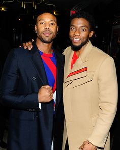 """Michael B. Jordan & Chadwick Boseman at """"Black Panther"""" New York premiere afterparty Why I love Black Men.😍😘😗😙😗😙😚 milk chocolate and caramel coco. Black Panther 2018, Black Panther Marvel, The Avengers, Michael Bakari Jordan, Black Panther Chadwick Boseman, Handsome Black Men, Black Man, Black Actors, Hollywood"""