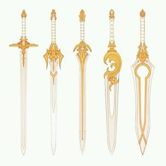 Espadas angelical Excalibur is the first sword but all white Fantasy Sword, Fantasy Art, Armes Concept, Espada Anime, Armas Ninja, Cool Swords, Sword Design, Anime Weapons, Prop Design