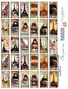 The images on this sheet are a resized version of sheet no193.  Romantic Paris theme Digital Collage Print Sheet filled with 18 different images (1 x 2