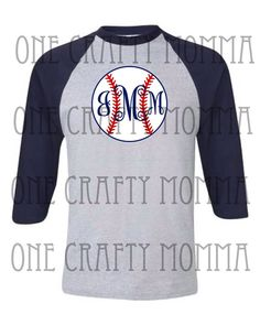 Baseball monogram raglan tee  by 1OneCraftyMomma on Etsy, $20.00 how cute to change this to a soccer ball too