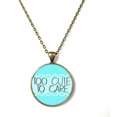 90s Soft Grunge Pastel Goth Nu Goth too cute to care Necklace Funny... ($15) ❤ liked on Polyvore featuring jewelry, necklaces, grunge necklace, gothic pendants, pastel goth necklace, grunge jewelry and pastel goth jewelry