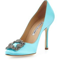 Manolo Blahnik Hangisi Satin Crystal-Toe Pump ($1,020) ❤ liked on Polyvore featuring shoes, pumps, tiffany blue, high heel shoes, pointed-toe pumps, blue high heel shoes, blue pumps and blue shoes