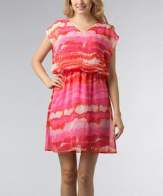 Hot Pink & White Snakeskin Cape-Sleeve Dress - Women #zulily #zulilyfinds
