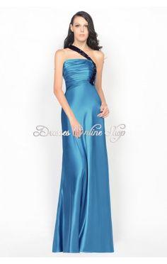 Blue A-line Floor-length Strapless Taffeta Dress