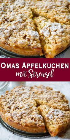 Omas Apfelkuchen mit Streusel (Apfelkrümel) A simple, traditional German recipe for a sweet apple pie with crumble. In this recipe for grandma's apple pie you will find tender apple pieces with cr Easy Cake Recipes, Baking Recipes, Cookie Recipes, Snack Recipes, Crockpot Recipes, Chicken Recipes, Dinner Recipes, Apple Recipes, Grandmas Apple Pie