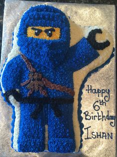Jay, blue Ninjago cake with butter cream icing - Birthday Cake Blue Ideen Ninja Birthday Cake, Ninja Cake, 6th Birthday Cakes, Ninja Birthday Parties, Birthday Fun, Birthday Ideas, Lego Ninjago Cake, Ninjago Party, Lego Cake