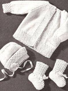Knitting Patterns Vintage Vintage Knitting Pattern To Make Baby Popcorn Sweater Jacket Set Cap Booties Pop Baby Knitting Patterns, Baby Booties Knitting Pattern, Baby Sweater Patterns, Knitting For Kids, Baby Patterns, Free Knitting, Cardigan Bebe, Knitted Baby Cardigan, Knit Baby Sweaters