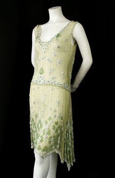 Blue Silk Chiffon and Beaded Cocktail Dress- 1920s - 1920s Clothes ...
