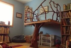 Handmade Tree Loft as seen in Waldorf classrooms. This is so sweet and would be so calming for children. Handmade Tree Loft as seen in Waldorf classrooms. Reading Loft, Kid Spaces, Play Houses, Classroom Decor, Kids Bedroom, Bedroom Ideas, Home Interior Design, My Dream Home, Sweet Home