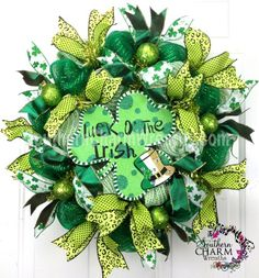 Deco Mesh St. Patrick's Day Wreath SLIM Screen Door Greens Shamrock Decor by www.southerncharmwreaths.com #decomesh #wreath
