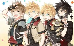"""Sora, Roxas, Ventus, Vanitas  Havent finished playing BBS to be honest (the feels train hits me waaaay too hard), but I have a feeling that Ven would be the one to smile while punching Van in the jaw.  """"I dun car if he eez zee sonshine childe, he weell still bee punshing zat baztard in zis face."""" > w <"""
