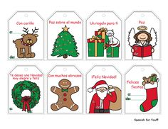 FREE Spanish Christmas Gift Tags - These are so cute and fun for kids learning Spanish. Comes with audio so you can hear all the phrases and a translation key. Just scroll down my holiday page to find them. http://www.spanish-for-you.net/holiday.html