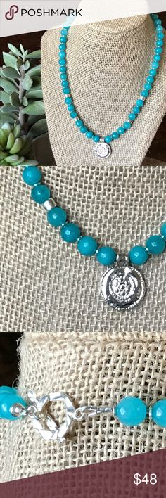 Blue Jade & Greek Coin Necklace by 🌿bdevoted 🌿 Pretty pretty pretty. Blue Faceted Jade and Silver are Fantastic Together.   The Greek Coin is ceramics covered in Pure Silver from Greece. Finished with Steeling Silver twisted toggle.  Great gift 🎁 idea.  Shop with confidence 🎉🎉 I AM A POSH AMBASSADOR 🎉🎉 ⭐️⭐️⭐️⭐️⭐️Rated Thanks to My Awesome Customers 😘😘😘 🅱️🅱️BUNDLE TO SAVE🅱️🅱️ bdevoted Jewelry Necklaces