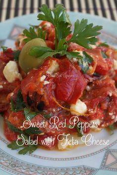 Sweet red peppers salad with feta cheese - cookeatup