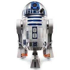 """The Voice Activated R2-D2 - obeys more than 40 voice commands, plays tag. Sensor helps him follow behind you, or it can be set to detect motion, turning R2 into a room sentry that sounds an alarm when a secured area is invaded. R2's lights, swiveling dome top, and distinctive happy and sad sounds faithfully mimic the real thing, right down to his occasional """"bad mood."""" Can also replay sounds and dialog from movies, answer yes-or-no questions, and dance while playing the famed cantina music."""