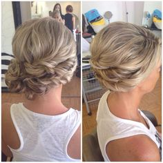 Bridal hair, wedding hair, side bun, curly bun, side swept updo, updo, bridesmaid hair, prom hair, homecoming hair, messy updo, beautybyverlin