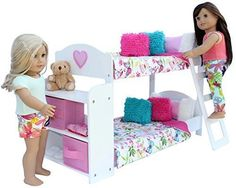 "18"" American Girl Doll Bunk Bed Set Bedroom Furniture Bedding Bookshelf 20 Pc  #PZASToys"